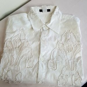 Johnny Max Mens White w/ gold stitching shirt XL